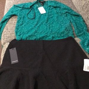 Black skirt & knit green crop top